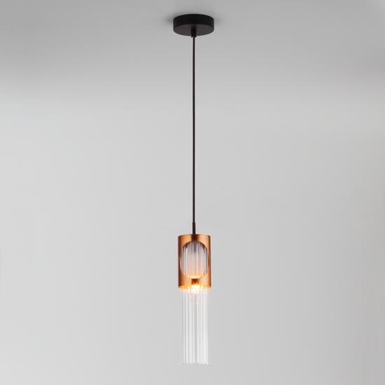 Фото №3 Подвесной светильник со стеклянным плафоном 50087/1 черный/бронза