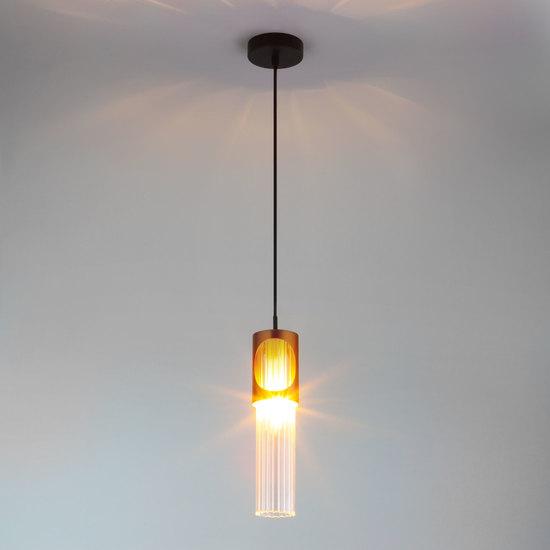 Фото №5 Подвесной светильник со стеклянным плафоном 50087/1 черный/бронза