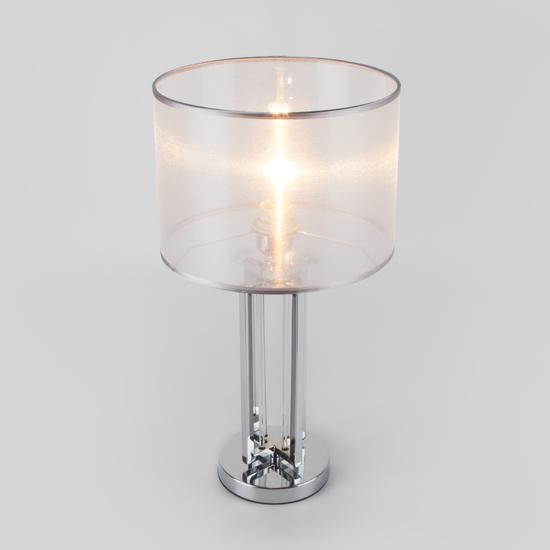 Фото №3 Настольная лампа с абажуром 01078/1 хром
