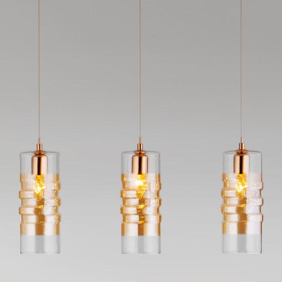 Фото №2 Подвесной светильник со стеклянными плафонами 50185/3 золото