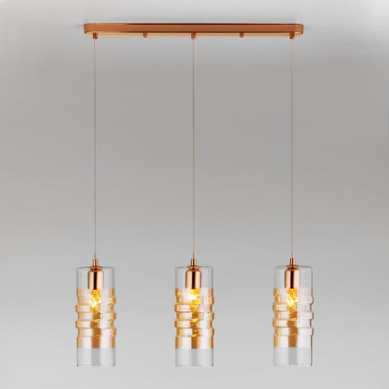 Фото №3 Подвесной светильник со стеклянными плафонами 50185/3 золото