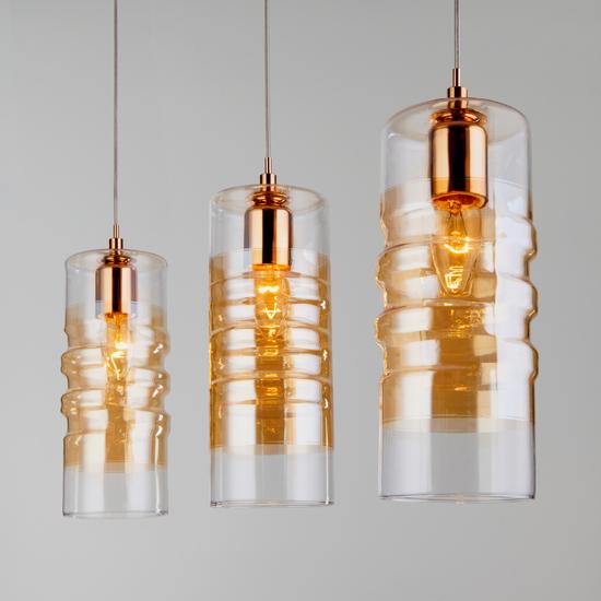 Фото №4 Подвесной светильник со стеклянными плафонами 50185/3 золото