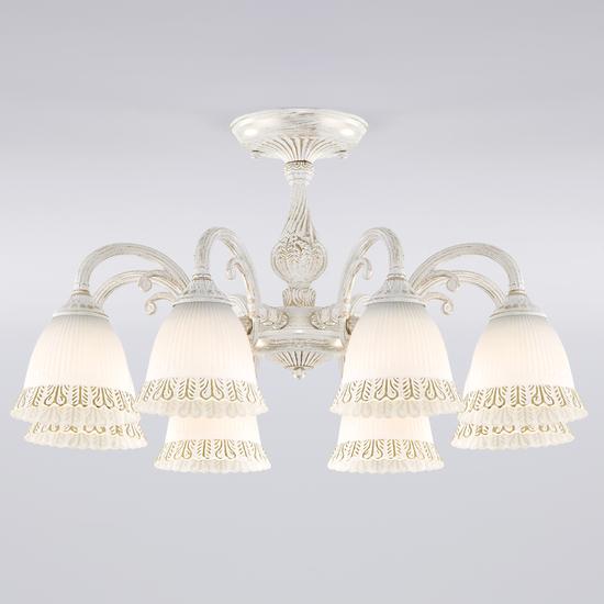 Фото №2 Классическая люстра со стеклянными плафонами 60107/8 белый с золотом