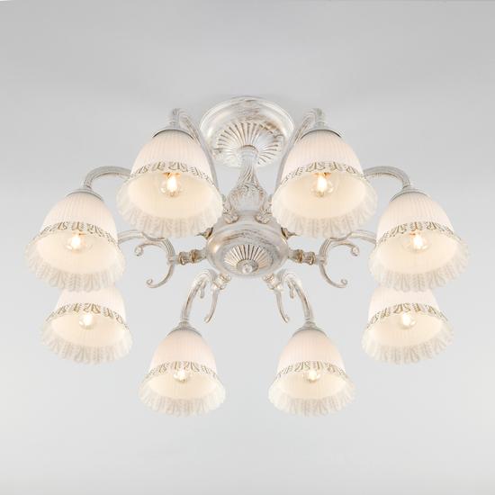 Фото №3 Классическая люстра со стеклянными плафонами 60107/8 белый с золотом