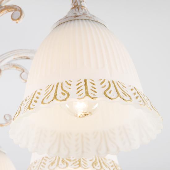 Фото №4 Классическая люстра со стеклянными плафонами 60107/8 белый с золотом