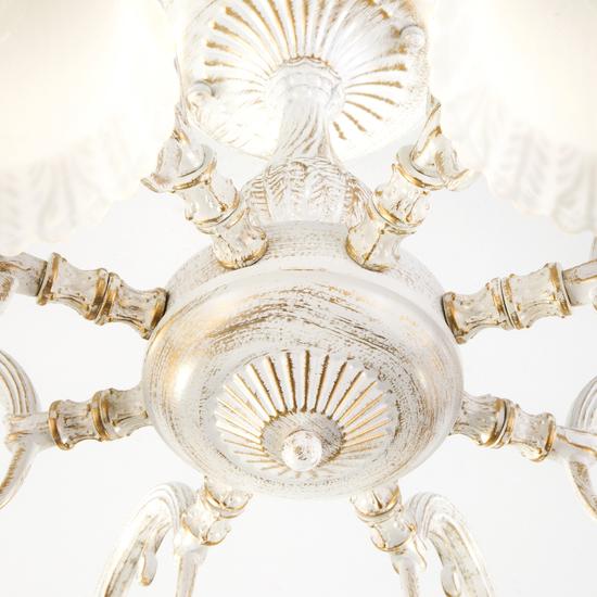 Фото №5 Классическая люстра со стеклянными плафонами 60107/8 белый с золотом