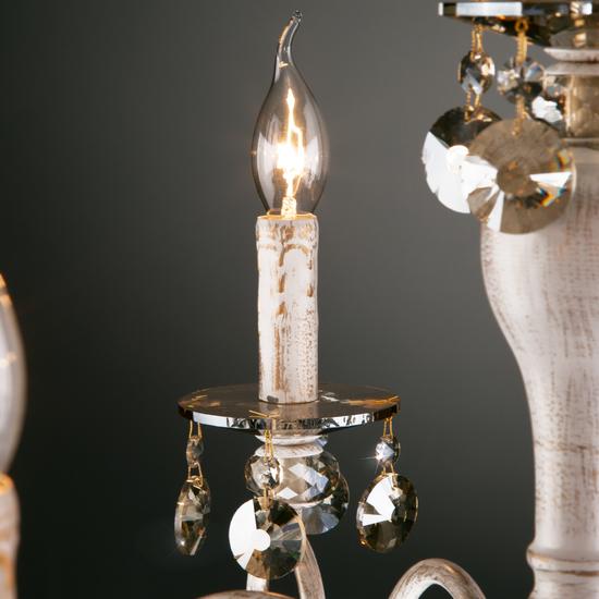 Фото №5 Классическая люстра с хрусталем 10104/8 белый с золотом/тонированный хрусталь Strotskis