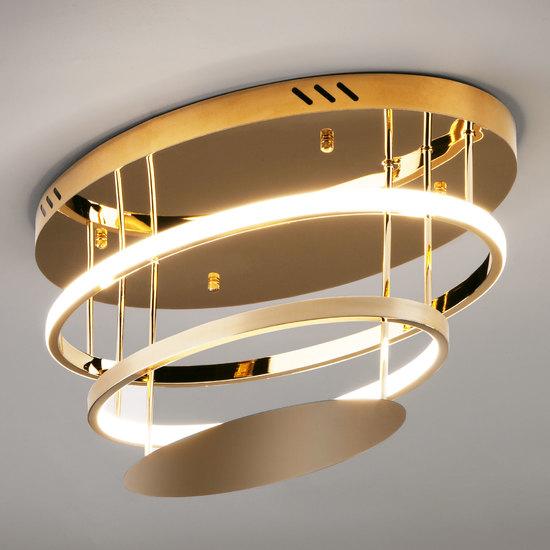 Фото №4 Потолочный светодиодный светильник с пультом управления 90160/2 золото