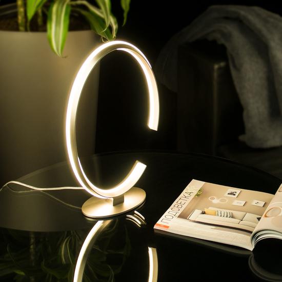 Фото №3 Настольный светодиодный светильник 80414/1 сатин-никель