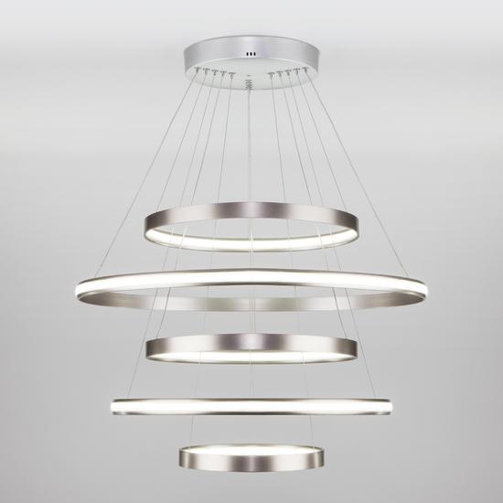 Фото №2 Подвесной светодиодный светильник с пультом управления 90179/5 сатин-никель