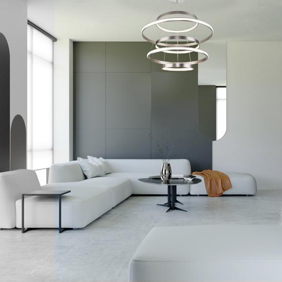 Фото №3 Подвесной светодиодный светильник с пультом управления 90179/5 сатин-никель