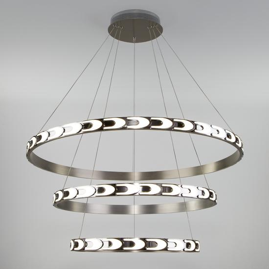 Фото №2 Дизайнерский светодиодный светильник с пультом управления 90163/3 сатин-никель
