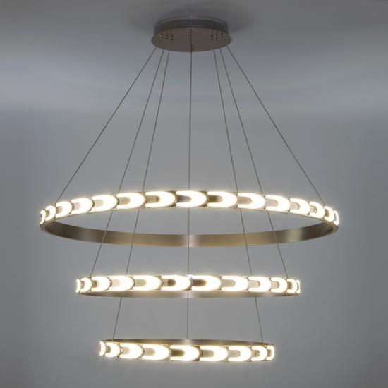Фото №4 Дизайнерский светодиодный светильник с пультом управления 90163/3 сатин-никель