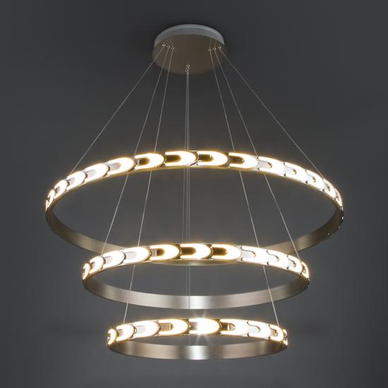 Фото №5 Дизайнерский светодиодный светильник с пультом управления 90163/3 сатин-никель