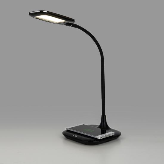 Фото №7 Светодиодная настольная лампа с беспроводной зарядкой 80419/1 черный