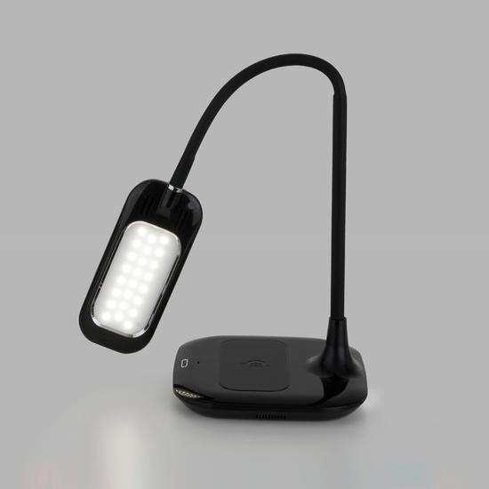 Фото №8 Светодиодная настольная лампа с беспроводной зарядкой 80419/1 черный