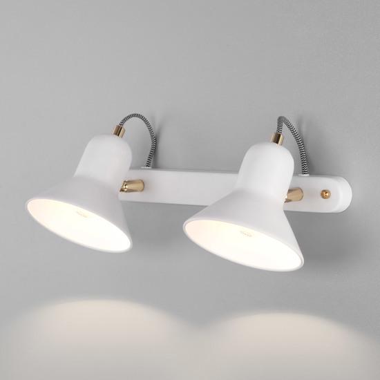 Фото №2 Настенный светильник с поворотными плафонами 20083/2 белый/золото