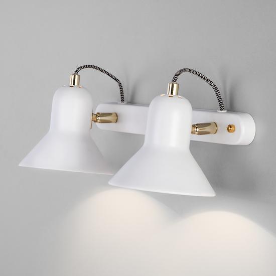 Фото №3 Настенный светильник с поворотными плафонами 20083/2 белый/золото