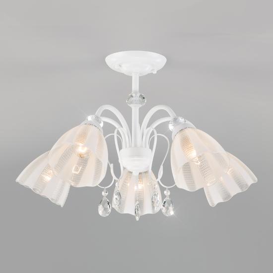 Фото №2 Потолочная люстра со стеклянными плафонами 30155/5 белый