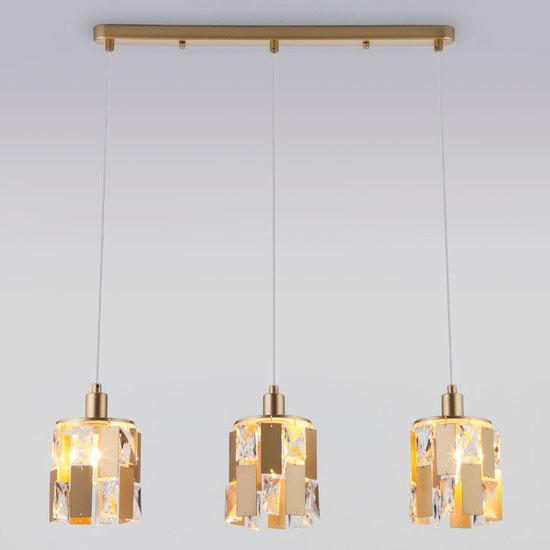 Фото №4 Подвесной светильник с хрусталем 50101/3 перламутровое золото
