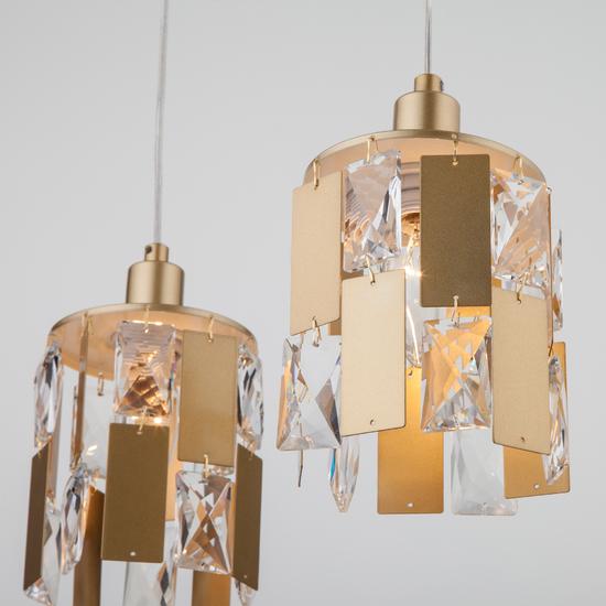 Фото №5 Подвесной светильник с хрусталем 50101/3 перламутровое золото