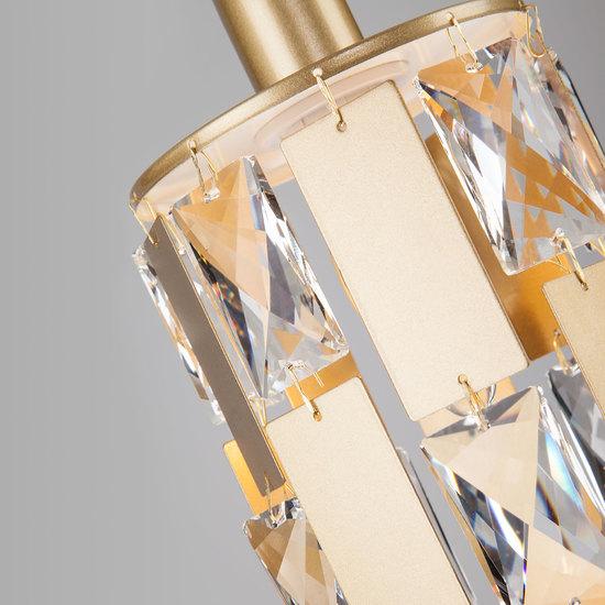 Фото №5 Подвесной светильник с хрусталем 50101/1 перламутровое золото