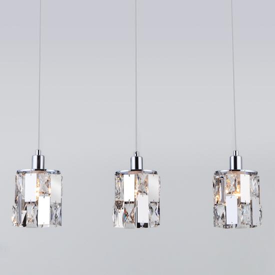 Фото №2 Подвесной светильник с хрусталем 50101/3 хром