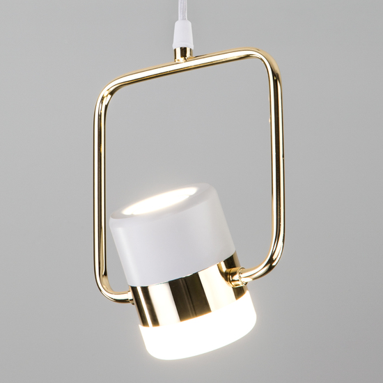 Фото №4 Подвесной светодиодный светильник с поворотным плафоном 50165/1 LED золото/белый
