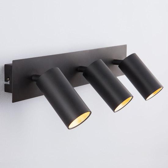 Фото №2 Светодиодный настенный светильник с поворотными плафонами 20066/3 LED черный/золото