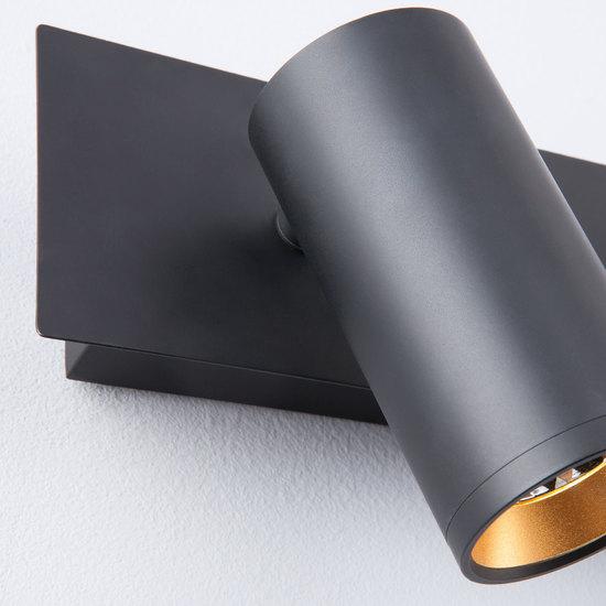 Фото №5 Светодиодный настенный светильник с поворотными плафонами 20066/3 LED черный/золото