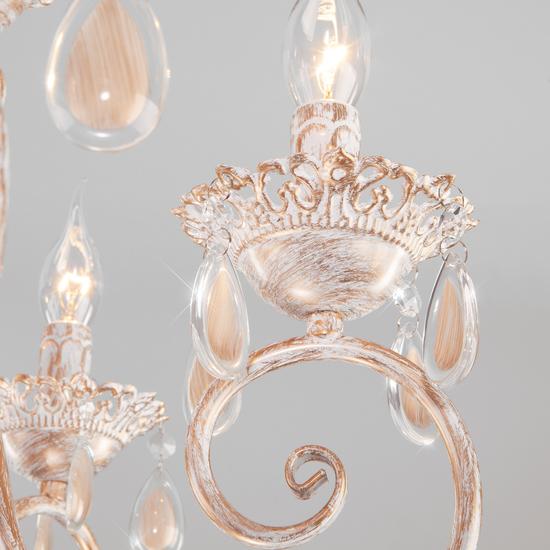 Фото №4 Классическая подвесная люстра 10009/6 золото с белым