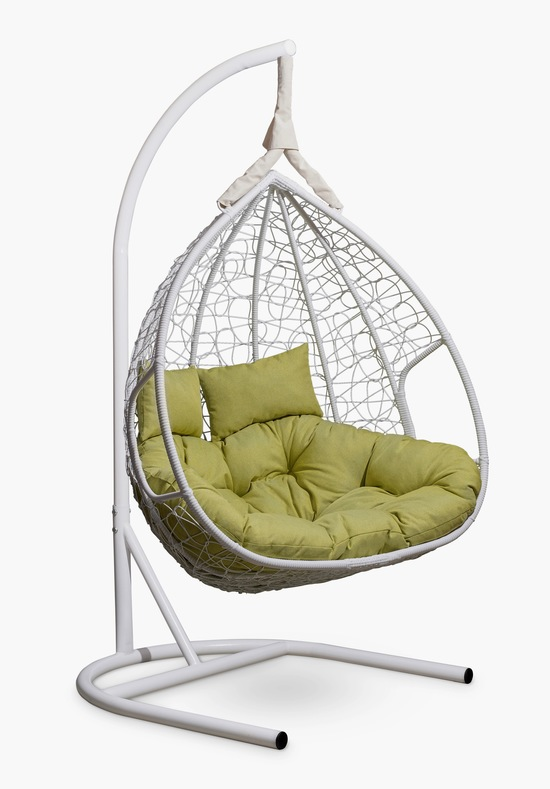 Фото №5 Подвесное двухместное кресло-кокон FISHT белое + каркас
