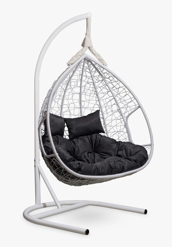 Фото №6 Подвесное двухместное кресло-кокон FISHT белое + каркас