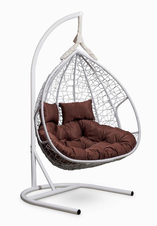 Фото №7 Подвесное двухместное кресло-кокон FISHT белое + каркас