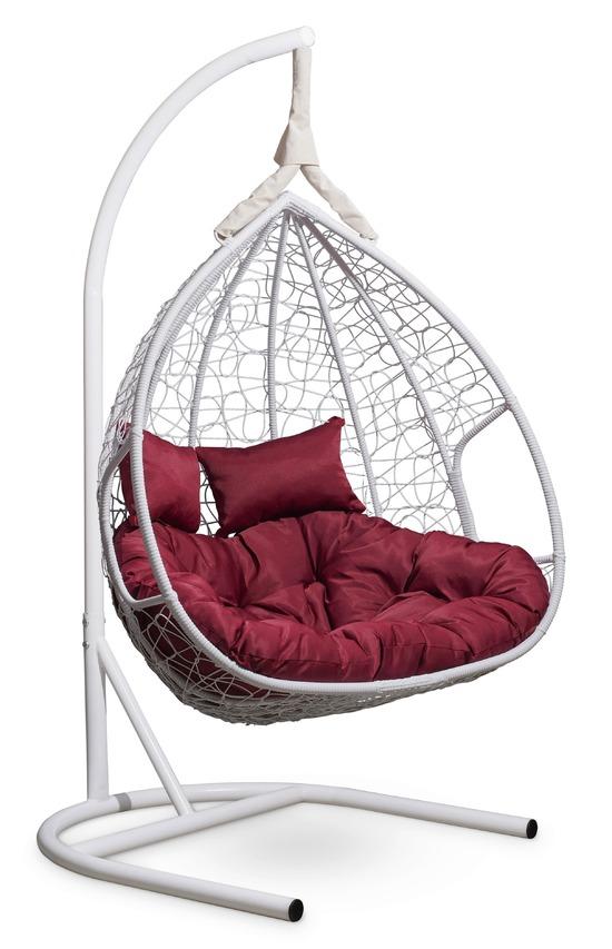 Подвесное двухместное кресло-кокон FISHT белое + каркас