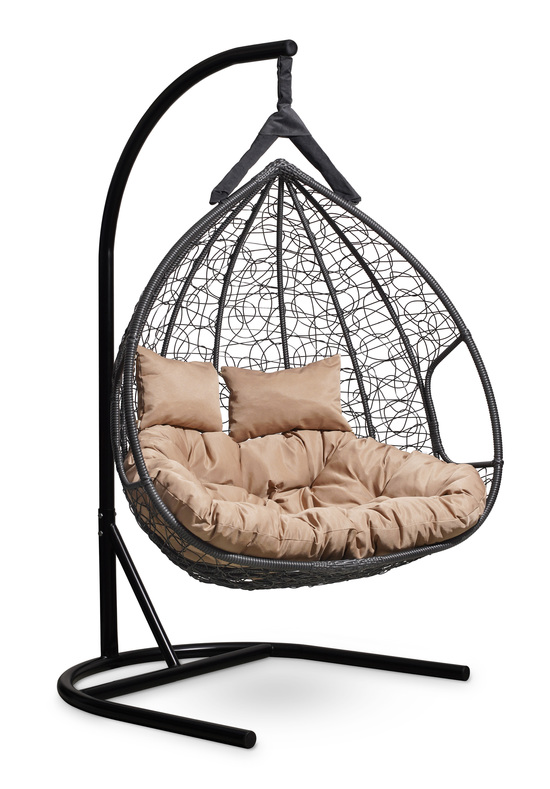 Фото №5 Подвесное двухместное кресло-кокон FISHT черное + каркас