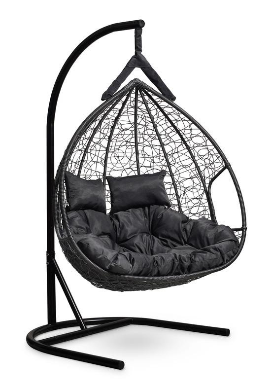 Фото №6 Подвесное двухместное кресло-кокон FISHT черное + каркас