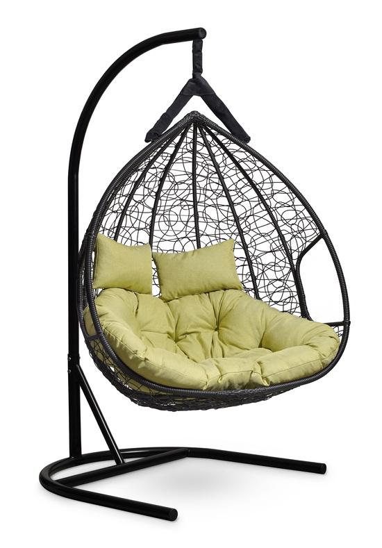 Фото №8 Подвесное двухместное кресло-кокон FISHT черное + каркас