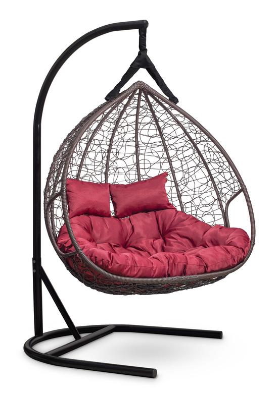 Фото №4 Подвесное двухместное кресло-кокон FISHT коричневое + каркас