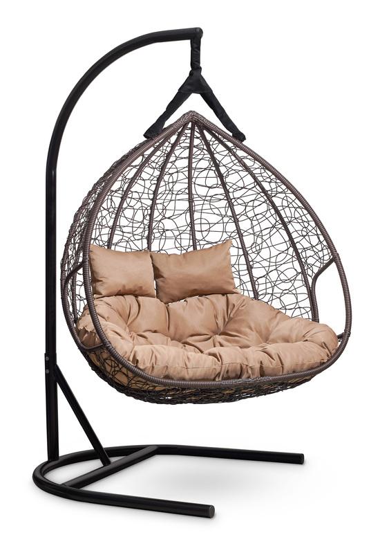 Фото №3 Подвесное двухместное кресло-кокон FISHT коричневое + каркас
