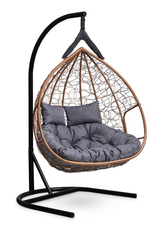 Фото №4 Подвесное  двухместное кресло-кокон FISHT горячий шоколад + каркас