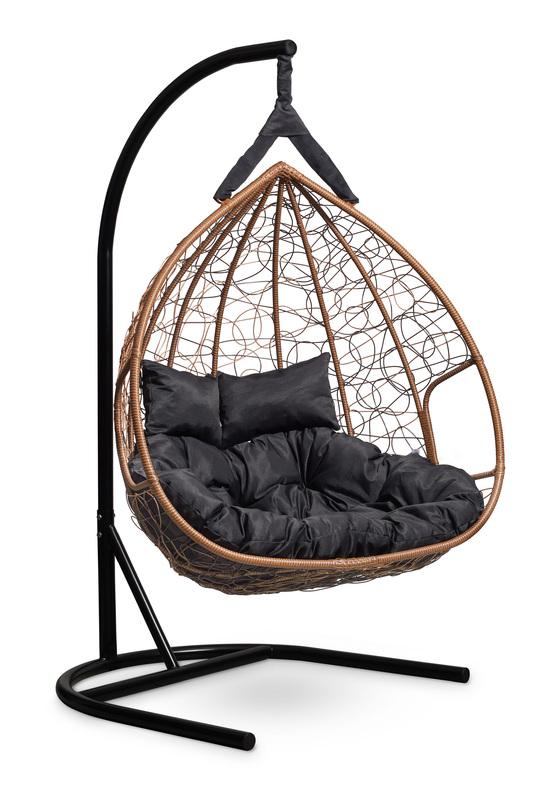 Фото №5 Подвесное  двухместное кресло-кокон FISHT горячий шоколад + каркас