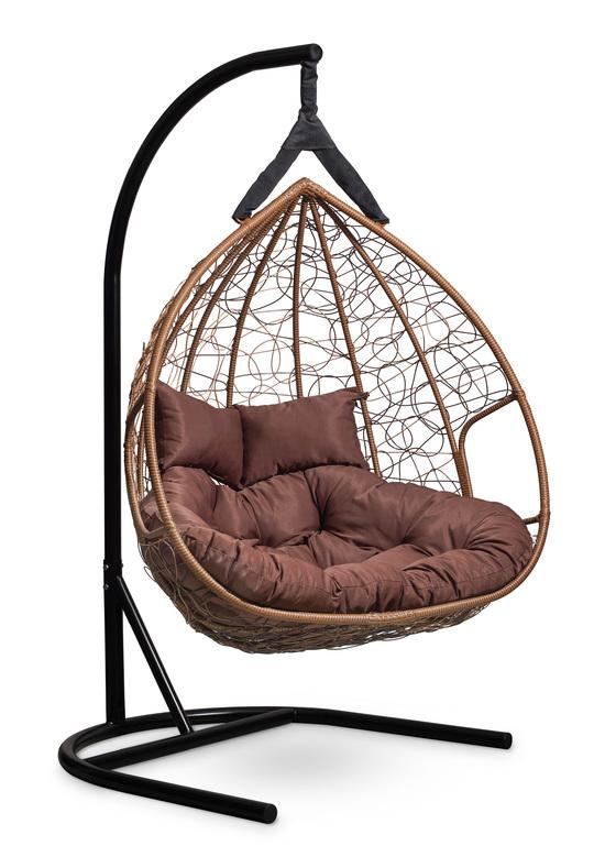 Фото №6 Подвесное  двухместное кресло-кокон FISHT горячий шоколад + каркас