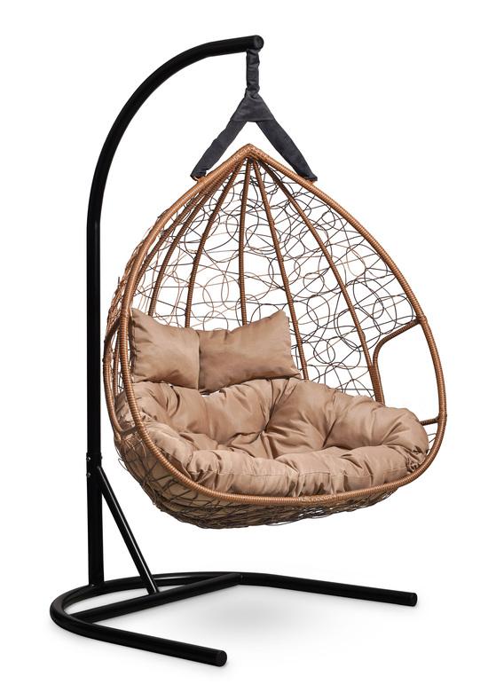 Фото №7 Подвесное  двухместное кресло-кокон FISHT горячий шоколад + каркас