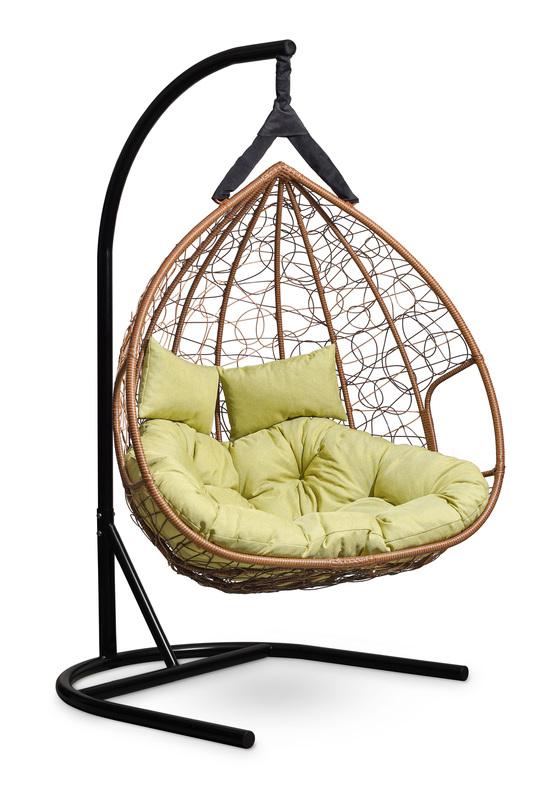 Подвесное  двухместное кресло-кокон FISHT горячий шоколад + каркас