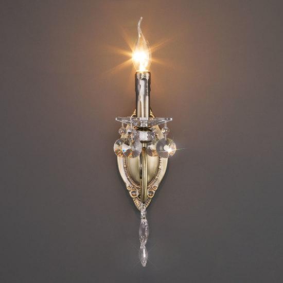 Фото №4 Классическое бра с хрусталем 10104/1 античная бронза/прозрачный хрусталь Strotskis