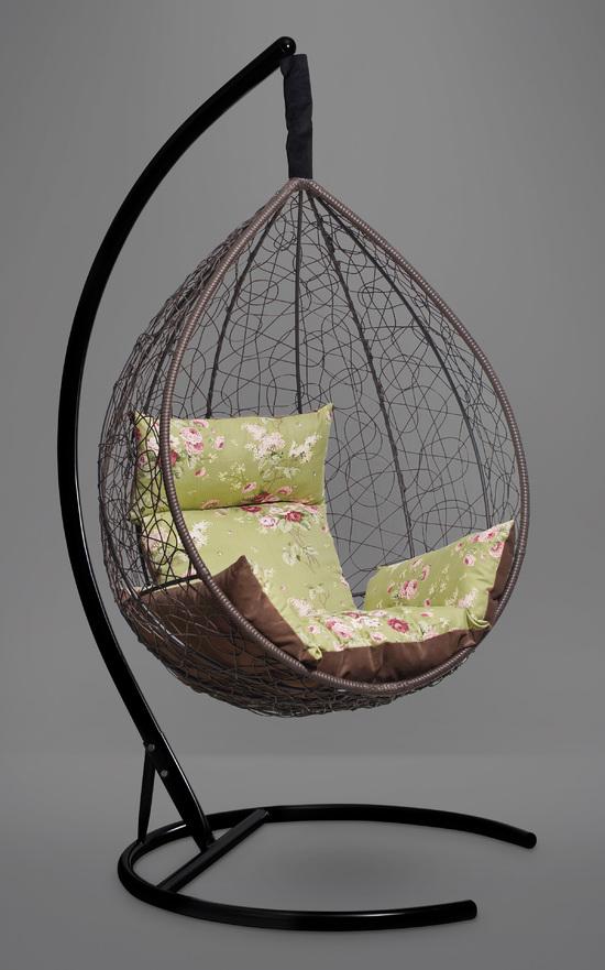 Фото №3 Подвесное кресло-кокон SEVILLA ELEGANT коричневое + каркас
