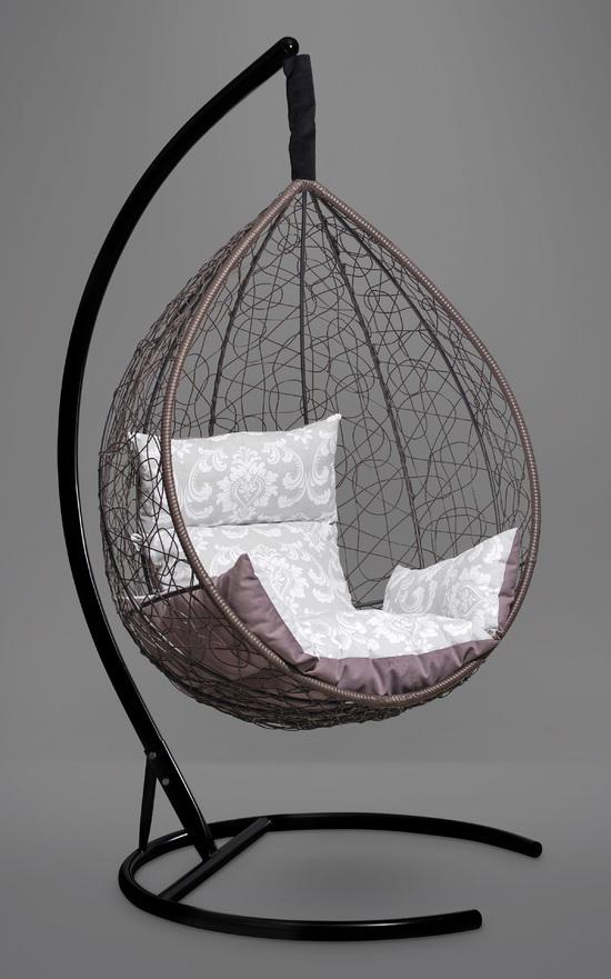 Подвесное кресло-кокон SEVILLA ELEGANT коричневое + каркас