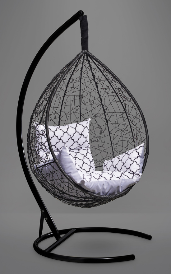 Фото №4 Подвесное кресло-кокон SEVILLA ELEGANT черное + каркас