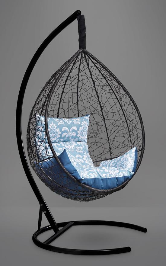 Фото №2 Подвесное кресло-кокон SEVILLA ELEGANT черное + каркас